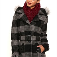 Single Breasted Plaid Wool Coat with Belt and Fur Trimmed Hood