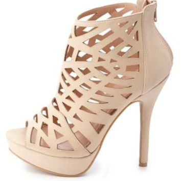 Laser Cut-Out Peep Toe Booties by Charlotte Russe - Natural