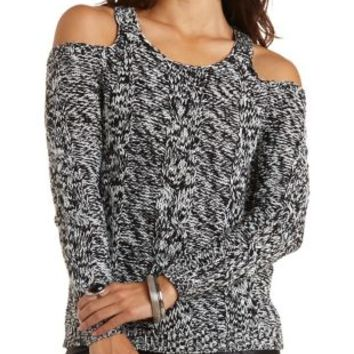 Cable Knit Cold Shoulder Sweater by Charlotte Russe - Black Combo