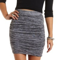 Marled & Ruched Tulip Mini Skirt by Charlotte Russe - Charcoal