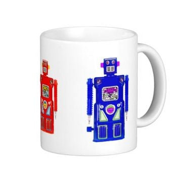 Classic Red, Blue and Green Robot Mug