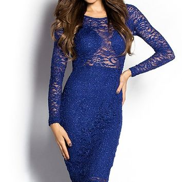 Julia Royal Blue Sparkly Long Sleeve Lace Cut Out Cocktail Dress
