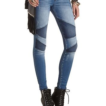 Patched Moto Skinny Jeans by Charlotte Russe - Med Wash Denim