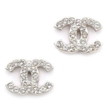 What Goes Around Comes Around Vintage Chanel CC Rhinestone Earrings