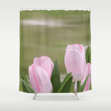 Pink Tulips Shower Curtain by Ramon Martinez Jr