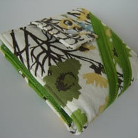 Bi fold wallet cream floral print with green accents
