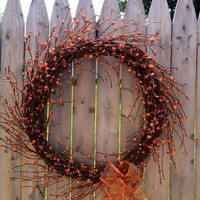 Pip Berry Wreath, 19 Inch, Burnt Orange, Fall Wreath