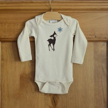 All Wild :: Organic Cotton Onesuit, Fawn & Blue Snowflake
