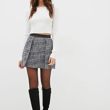 LOVE 21 Boucle & Faux Leather Skirt Black/White