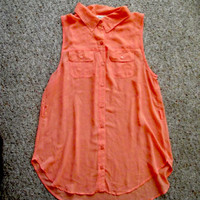 Peach Orange semi-translucent button up sleeveless collar tunic blouse with pockets