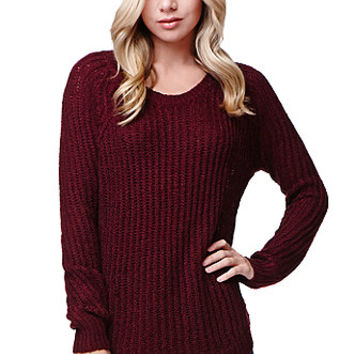 LA Hearts Long Sleeve Shirttail Hem Pullover Sweater - Womens Sweater