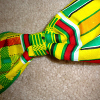 Yellow African Kente Cloth Hair Bow