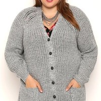 Plus Size Long Sleeve Marled Knit Button Front Cardigan with Pockets