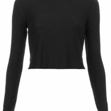 LONG SLEEVE SKINNY RIB CROP TOP