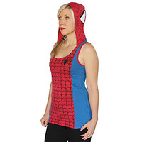 Spider-Man Ladies' Hooded Tank Top - Red,