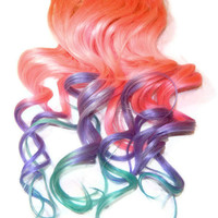 Full Pastel Mix Human Hair Extensions Clip In Extensions Pink Blue Purple Ciara Inspired