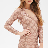 FOREVER 21 Sequined Mesh Bodycon Dress Bronze