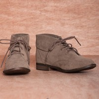 Hitting Your Stride FONTANA-13 Faux Suede Fold Down Lace Up Booties - Taupe