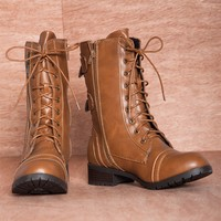 March in Place ALICE-3 Two ZIpper Mid Calf Lace Up Combat Boots - Camel