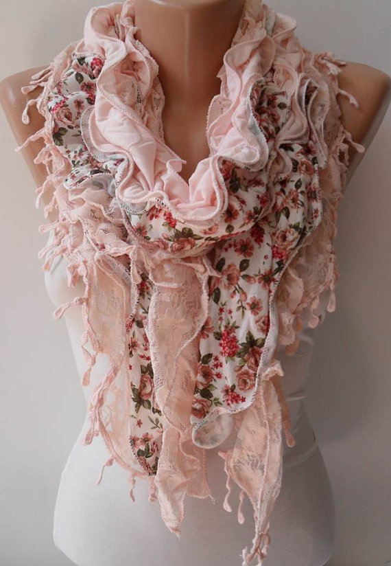 Salmon Lace and Cotton Scarf - Summer Collection - New