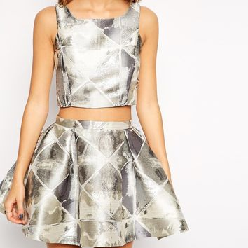True Decadance Petite Silver Jacquard Crop Top at asos.com