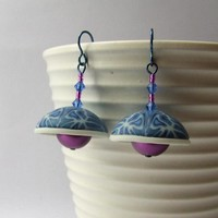 Blue and purple retro bell earrings, polymer clay, glass pearls, niobium earwires