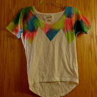 Bright neon retro dyed womans shirt handmade size xsmall