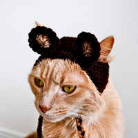Monkey Costume for Cats - Hand Knit Cat Hat - Cat Halloween Costume