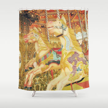Fond Memories of Childhood : The Carousel Horse Shower Curtain by lilkiddies