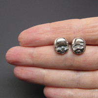 Sterling Silver Post Earrings Early Peas Baby Faces