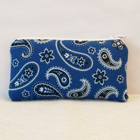 """Light Blue Paisley Bandana Print Cotton Padded Pipe Pouch 5.5"""" / Glass Pipe Case / Spoon Cozy / Piece Protector / Pipe Bag / SMALL"""