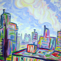 "ORIGINAL acrylic painting on stretched canvas, LARGE - The West End - 24"" x 36"""