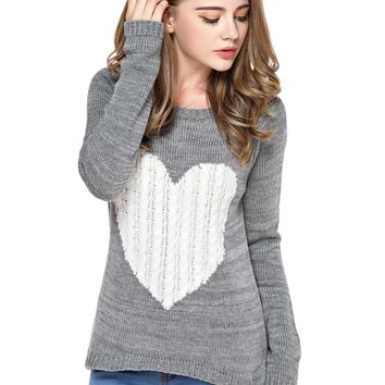 TopStyliShop Women's Heart Pattern Round Neck Grey Sweater with Dip Hem