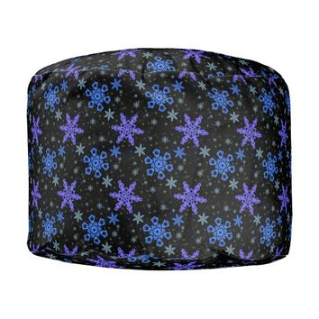 Snowflakes Blue Purple on Black