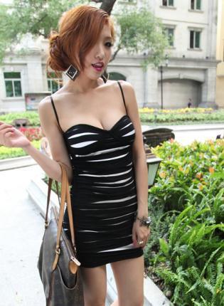 Sexy V-neck Sling Dress Black  FQ202