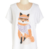 ModCloth Quirky Mid-length Short Sleeves Intellectual Never Catch Me Tee