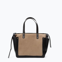 Combined leather shopper bag