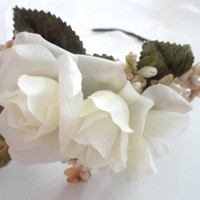 Fairy Blush Flower Head Wreath, Vintage Look