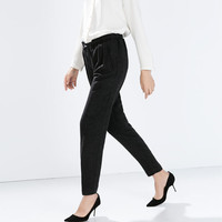 Tie-belt trousers with gathered waist