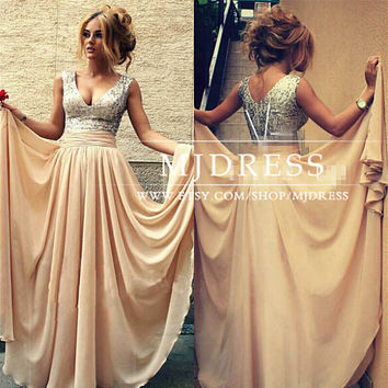 Sexy Deep V Sequins Long Formal Evening Prom Dress Woman Party Gown, Champagne Sequin Prom Dress,Sequin Sparkly Bridesmaid