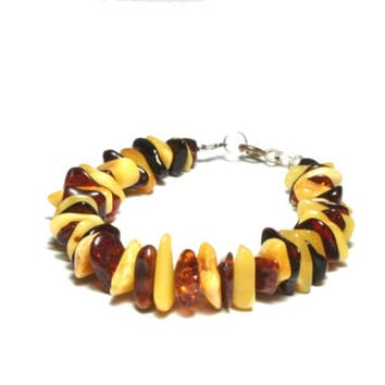 Baltic amber Bracelet, butterscotch amber and chocolate brown amber, brown & yellow