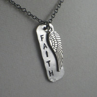 FAITH with WING Necklace - Rustic Artisan Aluminum Dog Tag Style Necklace on a long 24 inch gunmetal chain - Faith Jewelry