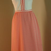 Vintage Orange and White Full Length Dress