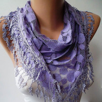 Purple and Polka Dot Patterned Tulle Scarf with Purple Trim Edge