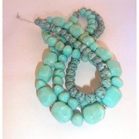 Wonderful Chunky Three strand simulated Turquoise Necklace Hang tag Avon B W