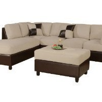Amazon.com: Bobkona Hungtinton Microfiber/Faux Leather 3-Piece Sectional Sofa Set, Mushroom: Furniture & Decor