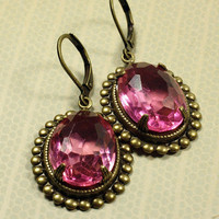 Pink jewel earrings vintage brass estate style