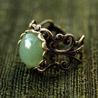 Aventurine Filigree Ring - $17.50 : RagTraderVintage.com, Handmade Indie Retro Accessories