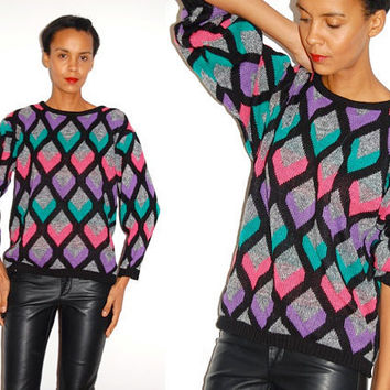 Vtg Colorful Arlequin Diamond Print Pink Purple Grey Knitted Sweater