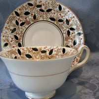 Vintage English Bone China Teacup Saucer Black Gold Orange Leaves